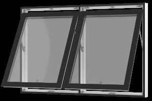 Rationel topstyret vindue med 2 fag, der kan åbnes. Kan bestilles i træ eller i en vedligeholdelses-fri  træ/alu udgave.  Modellen fås både i en retkantet moderne og klassisk udgave med profilerede karme.    Modellen leveres i en Basic v